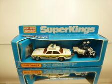 MATCHBOX SUPER KINGS K-66 JAGUAR XJ12 POLICE PATROL SET - WHITE - GOOD IN BOX