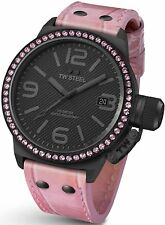 Authentic TW Steel Women's TW911 Canteen Swarovski Crystals Watch BLACK / PINK