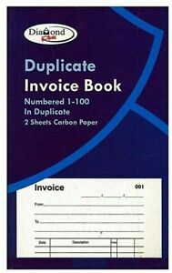 10 x INVOICE DUPLICATE BOOK PAD NUMBERED 1-100 PAGES CARBON COPY RECEIPT ORDER