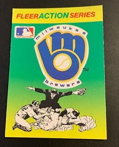 1990 Fleer Baseball Vintage 80's Logo Sticker Card Milwaukee Brewers MINT