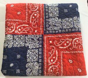 Throw Blanket Patchwork Bandana Print Red Blue Handkerchief Paisley Picnic Check