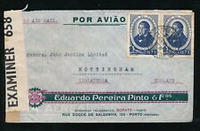 ADVERTISING PORTUGAL 1945 ILLUSTRATED ENVELOPE PEREIRA PINTO CENSORED to GB