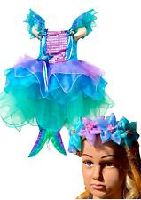 Girls Mermaid Costume Kids Cosplay Sea Princess Dress Plus Free Headpiece