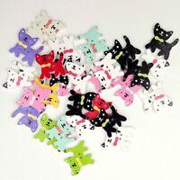 HD_ 50Pcs Mixed Color Cat Kitten 2Holes Wood Sewing Buttons Scrapbooking Decor B