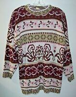 Vintage Variations Mock Neck Oversize Sweater Women S Pink/Maroon Geometric USA