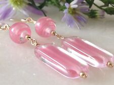 Vintage Rectangular Pink & Clear Givre & Swirl Glass 14ct Rolled Gold Earrings