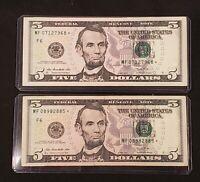 2013 Five Dollar FRN ($5) * STAR * Note Lot of Two x2 In Holders Fancy Serial #s