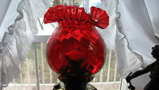 "GWTW 7 1/2"" HEIGHT GENUINE RUBY SCALLOPED  SWIRL GLASS LAMP GLOBE 4"" FITTER"