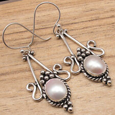 925 Silver Plated Tribal Jewelry Ethnic Natural Aaa Fresh Water Pearl Earrings,