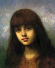Oil painting Alexei Harlamoff - My Little Model - Beautiful young girl