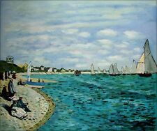 Claude Monet Regatta at Sainte-Adresse Repro, Hand Painted Oil Painting 20x24in
