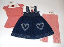 NWT Paper Wings Denim Hearts Smocked Dress~Red Bustle Top~Red Capri 3pc Set 5 4