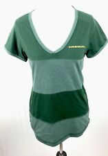 Antiqua V-Neck Tee Womens M Active Golf Dark Pine Green Striped Oregon Ducks New