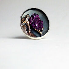 Bora Hand Crafted Unique Estate Amethyst tree geode ring vintage Sterling Silver