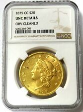 1875 CC CARSON CITY GOLD $20 LIBERTY DOUBLE EAGLE COIN NGC UNCIRCULATED DETAILS