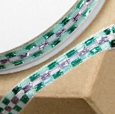 NEW AQUA & LILAC LUREX CHECKED PATTERNED RIBBON 10mm x 10M craft gift wrap