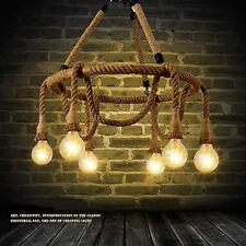 6 Bulbs Industrial Pendant Lamp Retro Vintage Hemp Rope Ceiling Light Chandelier