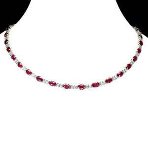 Oval Red Ruby 7x5mm Cz 14K White Gold Plate 925 Sterling Silver Necklace 18 Ins