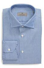 New Men's Canali Trim Fit Stripe Dress Shirt, Size 16.5 - Blue