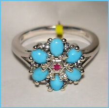 Sleeping Beauty Turquoise Ruby Ring  Platinum over Sterling Silver 925 sz 6 7 8