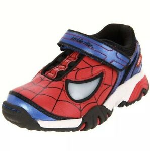 Stride Rite Boys Size 2 Red Spider-Man Light-up Sneakers Toddler Big Kid -Defect