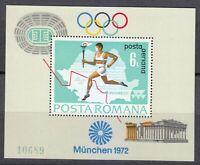 Romania 1972 Mi Block 93 Sc C186 Olympic Games, Munich.Runner,map of Romania **