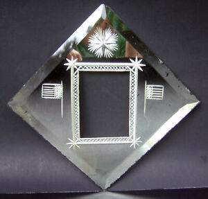 Vintage Patriotic Beveled Mirror w/ Engraved Picture Frame Opening Flags & Stars