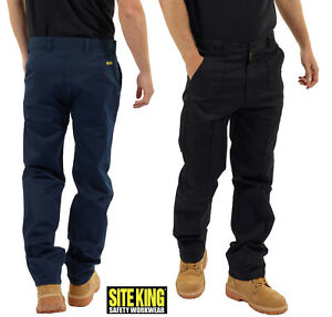 Mens Classic Work Trousers Size 28 to 56 in Black or Navy By SITE KING