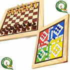 Chess and Ludo 2 in 1 Board Game Wood-Crafted Reversible game Set