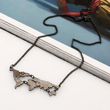 World Map Pendant Necklace Charm Collar Womens Fashion Travel Abstract Jewelry