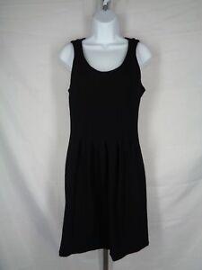 J Crew Black Dress Size 4 Pleated Flare Stretch Knit Sleeveless A5434