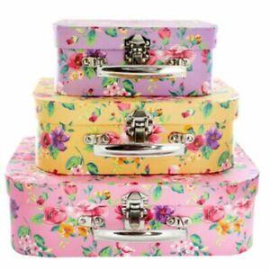 Set of 3 Vintage Floral Suitcases Storage Boxes Decorative Suit Case Gift Box