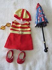 American Girl Doll Kit 1934 Swimsuit & Umbrella/Parasol~Sunglasses~Free Shipping