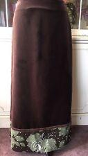 Boden Skirt Maxi Brown Velvet Green Corduroy Straight Line Boho Floral Size 12