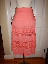 MSRP $49 NEW Simply Noelle S M 8 10 Salmon Lace Foldover Waist Peasant Skirt NWT