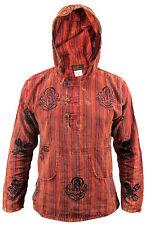 Hippie Collarless Grandad Stonewashed Cotton Natural Shirt Top OM Nepalese Hoody