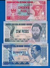 Guinea-Bissau P-10, P-11, P-12 Uncirculated Banknotes SET-3