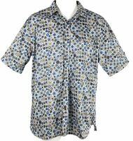 Visconti Black Men's Multi Color Circle Button Up Shirt Blue Medium $99.50