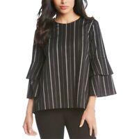 KAREN KANE NEW Women's Striped Flare Sleeve Blouse Shirt Top TEDO