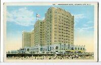 The AMBASSADOR HOTEL, on the Boardwalk, Atlantic City NJ 1915 - 1930 Postcard