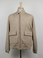 New D'AVENZA Beige Herringbone Wool Jacket Size 50/40 R $3795