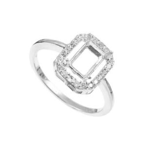 925 Silver Semi Mount 6x8 mm Octagon Engagement Ring Setting semi mount Rings