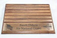 Military Challenge Coin Holder/Display 9x12, SD Air National Guard, Walnut USED