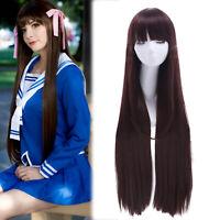Fruits Basket Tohru Honda Cosplay Wig Long Dark Brown Straight Bangs Hair Wigs