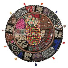 Ethnic Round Floor Cushion Cover Vintage Patchwork Black 28x28 Cotton Foot Stool