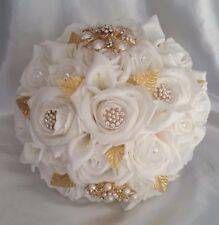 White Gold Large Wedding Bridal Bouquet Diamante Brooch Calla Lilies Hand-Made