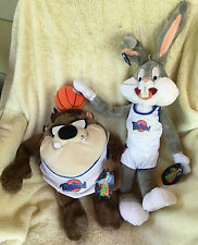 "SPACE JAM Official 18"" Bugs Bunny w/  Ball & Taz Tune Squad Plush Applause NEW"