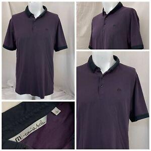 Travis Mathew Golf Polo Shirt L Purple Cotton Poly Lyra Made Peru YGI S1-641