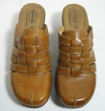 Dr Scholl's BRENNA Double Air-pillo Mules Slides Brown Woven Leather 8 1/2M EUC
