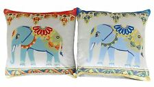 """2 X FILLED ELEPHANT FLORAL VELVET SILVER TEAL DUCK EGG BLUE RED CUSHIONS 17"""""""